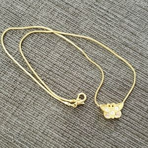 ♦️5\$15♦️Butterfly gold necklace with stones #768